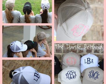 Monogrammed Pony Hat / CC Pony Hat/ Personalized Cap / Beach Hat / Ball Cap /Women's Adult Hat /Gift / Graduation Gift