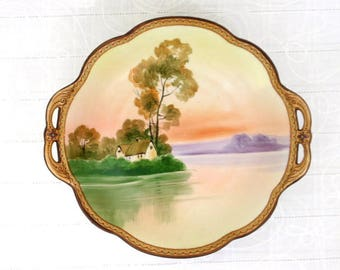 Antique Nippon Hand Painted Cabinet Bowl, cabinet display, cottage lake scene