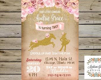 COWGIRL BIRTHDAY INVITATION - Pink, Bown, White & Gold - Girl Birthday Invitation - Horse, Cowboy Boots, Horseshoe - Gold Glitter