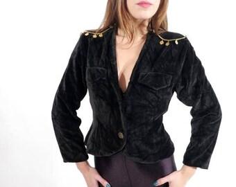 SALE Vintage Black Crop Plush Jacket Decorated With Chains