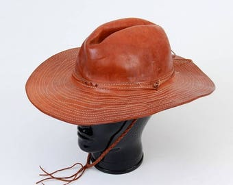 SALE Leather Hat / Brown Leather Hat / Vintage Hat / 70s Hat / Western Hat / Brown Hat / Cowboy Hat / Indiana Jones / Wider Brim / Handmade
