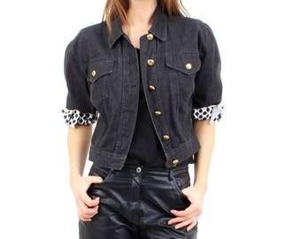25% OFF Moschino Jeans / Moschino Jacket / Designer Jacket / Black Denim Jacket / Crop Denim Jacket / Made in Italy