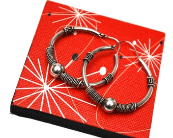Large  Sterling Hoop Earrings - Silver ball twisted silver - Modernistic design - Signed  925 - pierced earrings