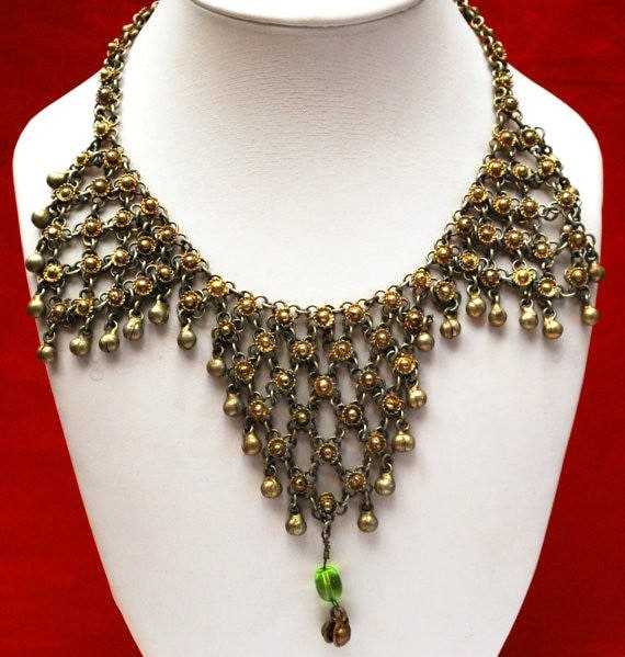 India Chain Link Bib Necklace - Gypsy Boho - Green Glass - Brass gold tone metal -  chain maille -Belly dancer