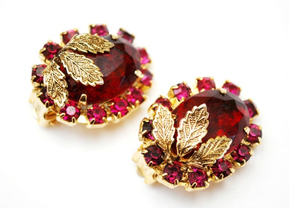 Red Pink Crystal Earrings - Clip on earring - Gold Leaf -  red  Pink rhinestone -