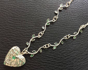 Heart Green branches Locket Necklace