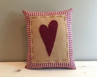 Red Homespun Heart Pillow