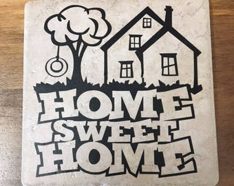 Decorative Tile with Saying Home Sweet Home (Stand Included)