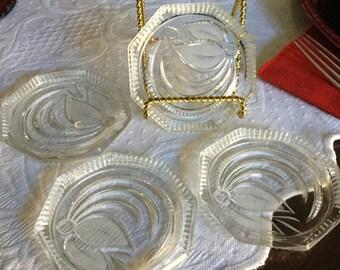 Vintage Octagonal Cut Glass Tulip/Leaf Etched /Frosted Design Coaster Set