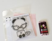 Laptop Girl Panda Clear Stamp