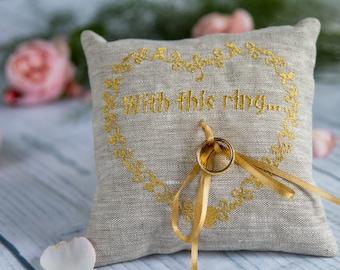 Personalized Wedding Ring Pillow, Ring Bearer Pillow , Lace ring pillow, Rustic Ring Pillow, Linen Ring Pillow