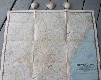 Vintage New England 1955 Map National Geographic