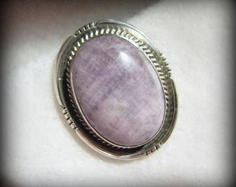 Vintage NAVAJO Phyllis Smith AMETHYST and Sterling Silver Pendant -- Signed, 12.9g, Oversize Bead Clip/Bail, Excellent Condition