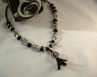 Trendy Parisian chic and modern dandy man necklace