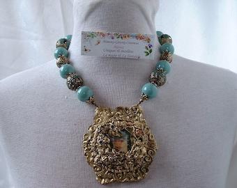 Baroque necklace antique romantic polymer clay pendant