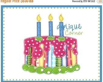 50% Off 014 Birthday Cake with Candles applique digital design for embroidery machine by Applique Corner
