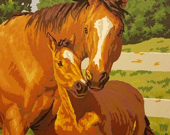 Chestnut Mare Horse with her Foal. Handmade Acrylic/Oil Painting. Great for any Horse Lover!