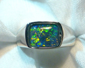 Mens Opal Ring Sterling Silver, Natural Opal Triplet. 10x8mm Rectangle. item 070540