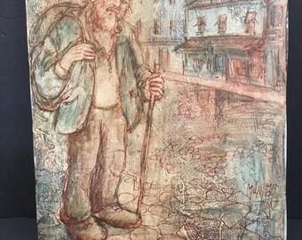 Original Street Art 1970's Hiker Old Gent with Pipe Gentleman Hobo Milan Paris