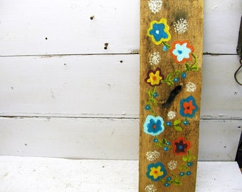 Hand Painted Wall Art - Barn Wood Spring Summer Theme Picture Old Board - Folk Art - Garden Gift