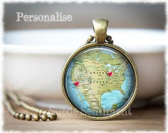 Personalized US Map Necklace • Best Friend Gift • Long Distance Friendship • Personalized Jewelry • Going Away Gift