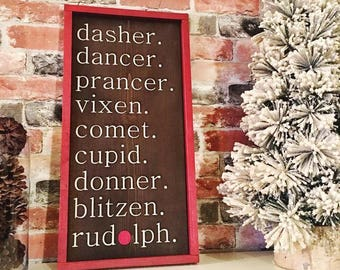 Reindeer names painted solid wood sign