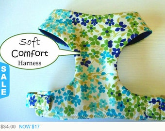 """Sale - 50% Off Soft Harness - Watercolor Floral Harness / Floral Harness / Red, Blue & Yellow - """"Veronica"""""""