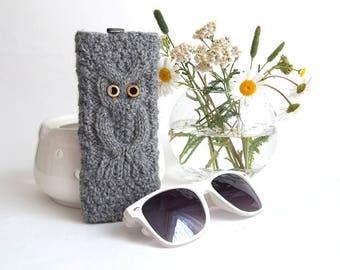 Gray Owl Glasses Case. Eyeglasses Case. Sunglasses Holder. Sunglasses Case. Reading Glasses Case. Glasses Holder.