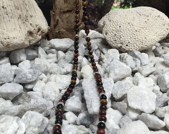 Tiger eye necklace for men. Sterling silver.