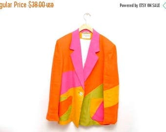 ON SALE 80s Neon Color Block Geometric Blazer Sportcoat Jacket Made in Yugoslavia Womens 14