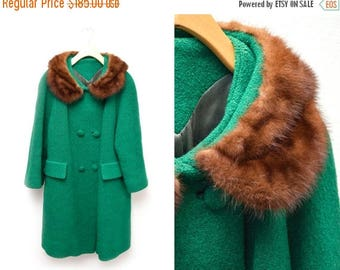 ON SALE 60s Emerald Green Long Coat Mink Collar Double Breasted Women's 12 XL
