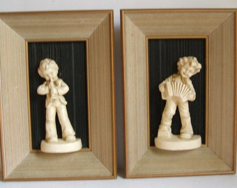 Pair of Vintage Shadowbox Plaques-Boy with Recorder and Boy with Concertina