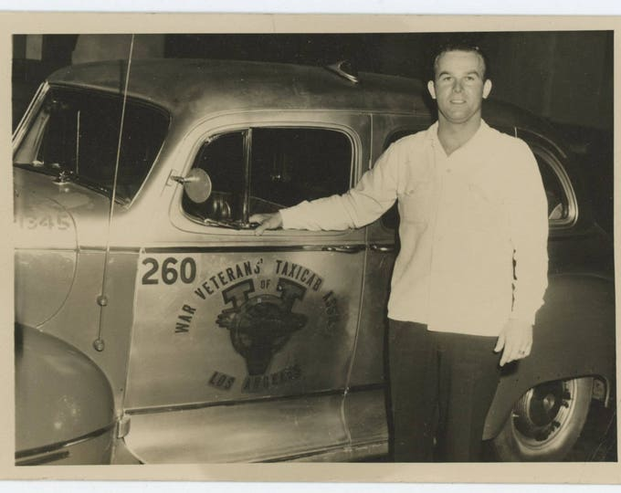 Vintage Snapshot Photo: War Veterans' Taxicab Driver, Los Angeles, 1940s, 5x7 (610506 O/S)