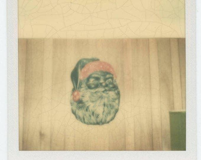 Vintage SX-70 Polaroid Snapshot Photo: Black Santa Mask (711622)