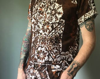 Vintage 50s Mens Brown Tiki Shirt