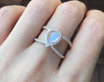 Teardrop Rainbow Moonstone Double Band with Diamond Accent in 14k or 18k Gold White Gold Rose Gold Yellow Gold
