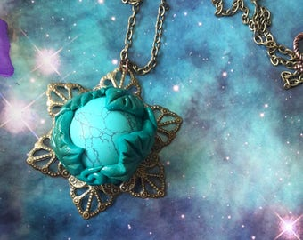 Forest fairy leafy turquoise necklace