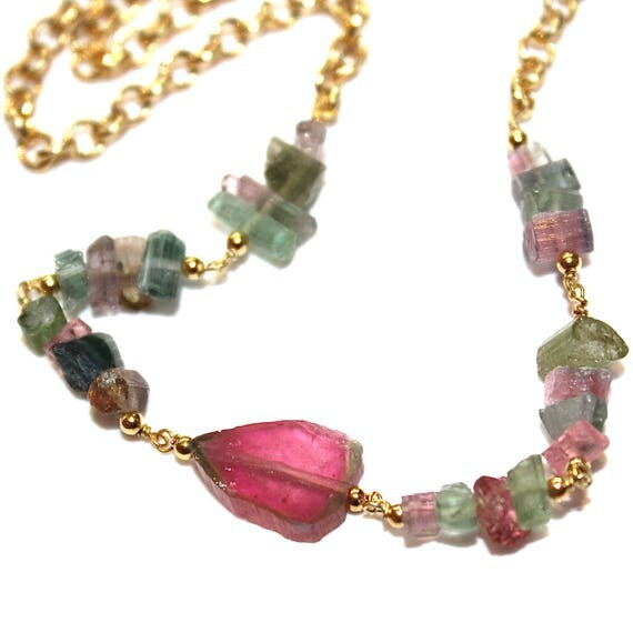 Watermelon Tourmaline Slice Necklace Tourmaline Necklace Bright Jewelry Rainbow Tourmaline Jewelry Spring Finds Delicate Necklace FizzCandy