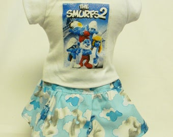Smurfs Theme Outfit  For 18 Inch Doll Like The American Girl
