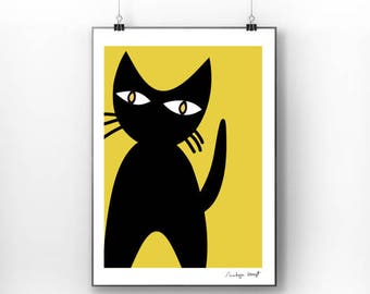 Black cat brings love print art for kids - Cat poster 5 - art print by nicemiceforyou