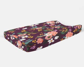 Changing Pad Cover in Birch Floral Eggplant; Floral Changing Pad Cover, Changing Pad Cover, Rifle Paper Changing Pad, Baby and Child Care