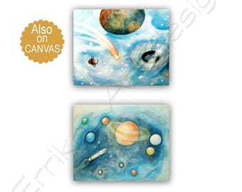 Outer Space Art, Kids Decor, Solar system, Kids Wall Art, Nursery Decor, Nursery Art, Space Nursery, SET OF 2 Prints, Kids art ,Space Decor