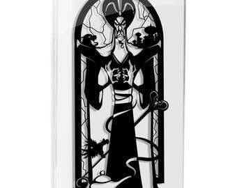 Jafar Aladdin silhouette hand cut paper craft handmade framed wall artwork geek art