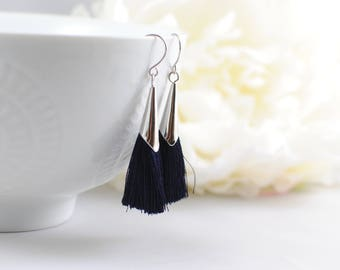 The Delia Earrings - Navy