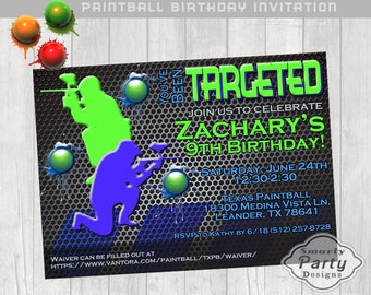 Paintball Birthday Invitation Boy Party Invite Printable Personalized 4 x 6 or 5 x 7