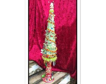 Christmas tree, alternative Holiday tree, mosaic tree, Christmas decor, fairytale christmas, mosaic Christmas tree, Table top tree,