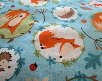 Quilting Weight Cotton Fabric Fox and Friends in blue from Northcott 1 yard
