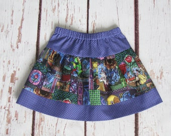 Skirt-Beauty and the Beast-Stained glass with coordinating border-Size 4 Ready to Ship or Made to Order to size 10-Disney World Disneyland
