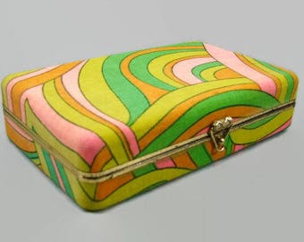 Mod Fabric Jewelry Box, Psychedelic Print Green Yellow Pink Orange Covered Box, Jewelry Storage, Hippie Fabric Storage Box