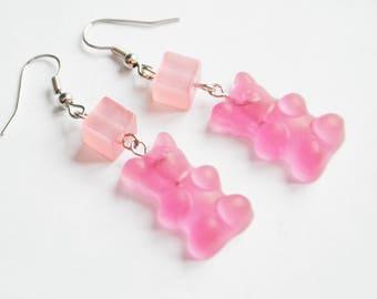 choix de Boucles d'oreilles gummy bears rose/blanc // pink/white gummy bears earring